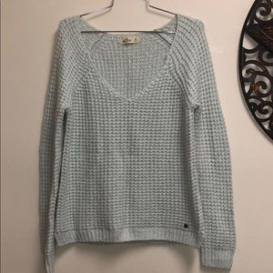 Hollister Blue V-Neck Knit Sweater